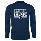 Syntrel Performance Navy Longsleeve Shirt-2017 MAAC Regular Season Basketball Champions Stacked