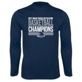 Performance Navy Longsleeve Shirt-2017 MAAC Regular Season Basketball Champions Stacked