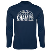 Performance Navy Longsleeve Shirt-2017 MAAC Regular Season Basketball Champs Half Ball