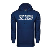 Under Armour Navy Performance Sweats Team Hoodie-Monmouth Hawks Stacked