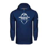 Under Armour Navy Performance Sweats Team Hood-Tall Football Design