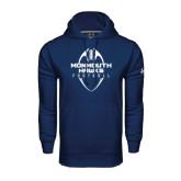 Under Armour Navy Performance Sweats Team Hood-Tall Football Design