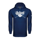 Under Armour Navy Performance Sweats Team Hood-Cross Bats Softball Design