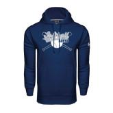Under Armour Navy Performance Sweats Team Hood-Cross Bats Softball Design