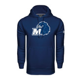 Under Armour Navy Performance Sweats Team Hoodie-Hawk with M