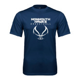 Performance Navy Tee-Stacked Basketball Design