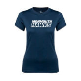 Ladies Syntrel Performance Navy Tee-Monmouth Hawks Stacked