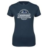 Ladies Syntrel Performance Navy Tee-2017 MAAC Regular Season Basketball Champions Banner