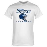 White T Shirt-Lacrosse Helmet Design