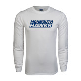 White Long Sleeve T Shirt-Monmouth Hawks Stacked
