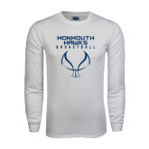 White Long Sleeve T Shirt-Stacked Basketball Design