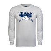 White Long Sleeve T Shirt-Cross Bats Softball Design
