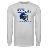 White Long Sleeve T Shirt-Lacrosse Helmet Design