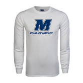 White Long Sleeve T Shirt-Club Ice Hockey