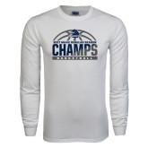 White Long Sleeve T Shirt-2017 MAAC Regular Season Basketball Champs Half Ball