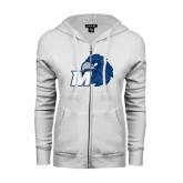ENZA Ladies White Fleece Full Zip Hoodie-Hawk with M