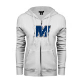 ENZA Ladies White Fleece Full Zip Hoodie-M