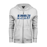ENZA Ladies White Fleece Full Zip Hoodie-Monmouth Hawks Stacked