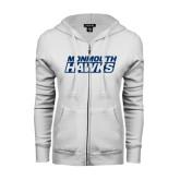 ENZA Ladies White Fleece Full Zip Hoodie-Monmouth Hawks Stacked
