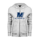 ENZA Ladies White Fleece Full Zip Hoodie-Club Ice Hockey