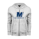 ENZA Ladies White Fleece Full Zip Hoodie-Club Ice Hockey