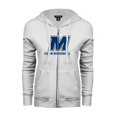 ENZA Ladies White Fleece Full Zip Hoodie-Club Baseball
