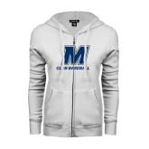 ENZA Ladies White Fleece Full Zip Hoodie-Club Baseball