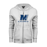 ENZA Ladies White Fleece Full Zip Hoodie-Club Lacrosse