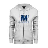 ENZA Ladies White Fleece Full Zip Hoodie-Club Lacrosse