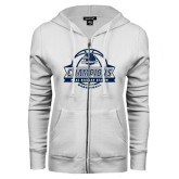 ENZA Ladies White Fleece Full Zip Hoodie-2017 MAAC Regular Season Basketball Champions Banner
