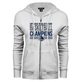 ENZA Ladies White Fleece Full Zip Hoodie-2017 MAAC Regular Season Basketball Champions Stacked