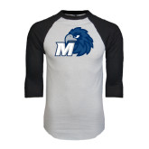 White/Black Raglan Baseball T-Shirt-Hawk with M