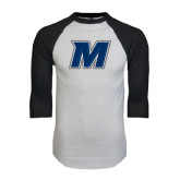 White/Black Raglan Baseball T-Shirt-M