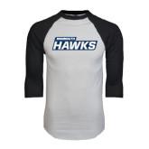 White/Black Raglan Baseball T-Shirt-Monmouth Hawks