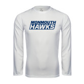 Syntrel Performance White Longsleeve Shirt-Monmouth Hawks Stacked