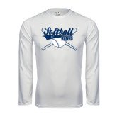 Syntrel Performance White Longsleeve Shirt-Cross Bats Softball Design