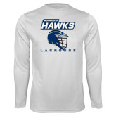 Syntrel Performance White Longsleeve Shirt-Lacrosse Helmet Design