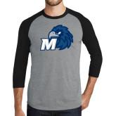 Grey/Black Tri Blend Baseball Raglan-Hawk with M