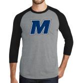 Grey/Black Tri Blend Baseball Raglan-M