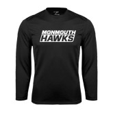 Syntrel Performance Black Longsleeve Shirt-Monmouth Hawks Stacked