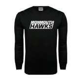 Black Long Sleeve TShirt-Monmouth Hawks Stacked