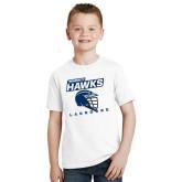 Youth White T Shirt-Lacrosse Helmet Design
