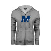 Ladies Grey Fleece Full Zip Hoodie-M