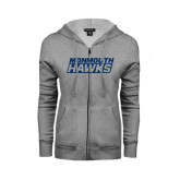 ENZA Ladies Grey Fleece Full Zip Hoodie-Monmouth Hawks Stacked