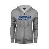 Ladies Grey Fleece Full Zip Hoodie-Monmouth Hawks Stacked