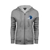 Ladies Grey Fleece Full Zip Hoodie-Hawk with M