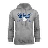 Grey Fleece Hoodie-Cross Bats Softball Design