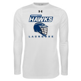 Under Armour White Long Sleeve Tech Tee-Lacrosse Helmet Design