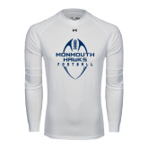 Under Armour White Long Sleeve Tech Tee-Tall Football Design