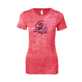 Next Level Ladies Junior Fit Fuchsia Burnout Tee-Official Logo Foil